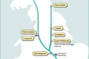 Route of High Speed Rail project - London to Birmingham